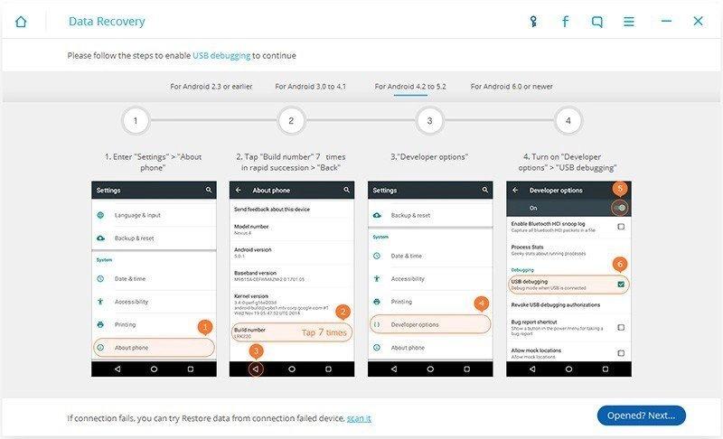 Android Datos Recuperación Paso 1