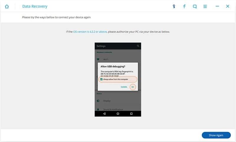 Android Datos Recuperación Paso 2